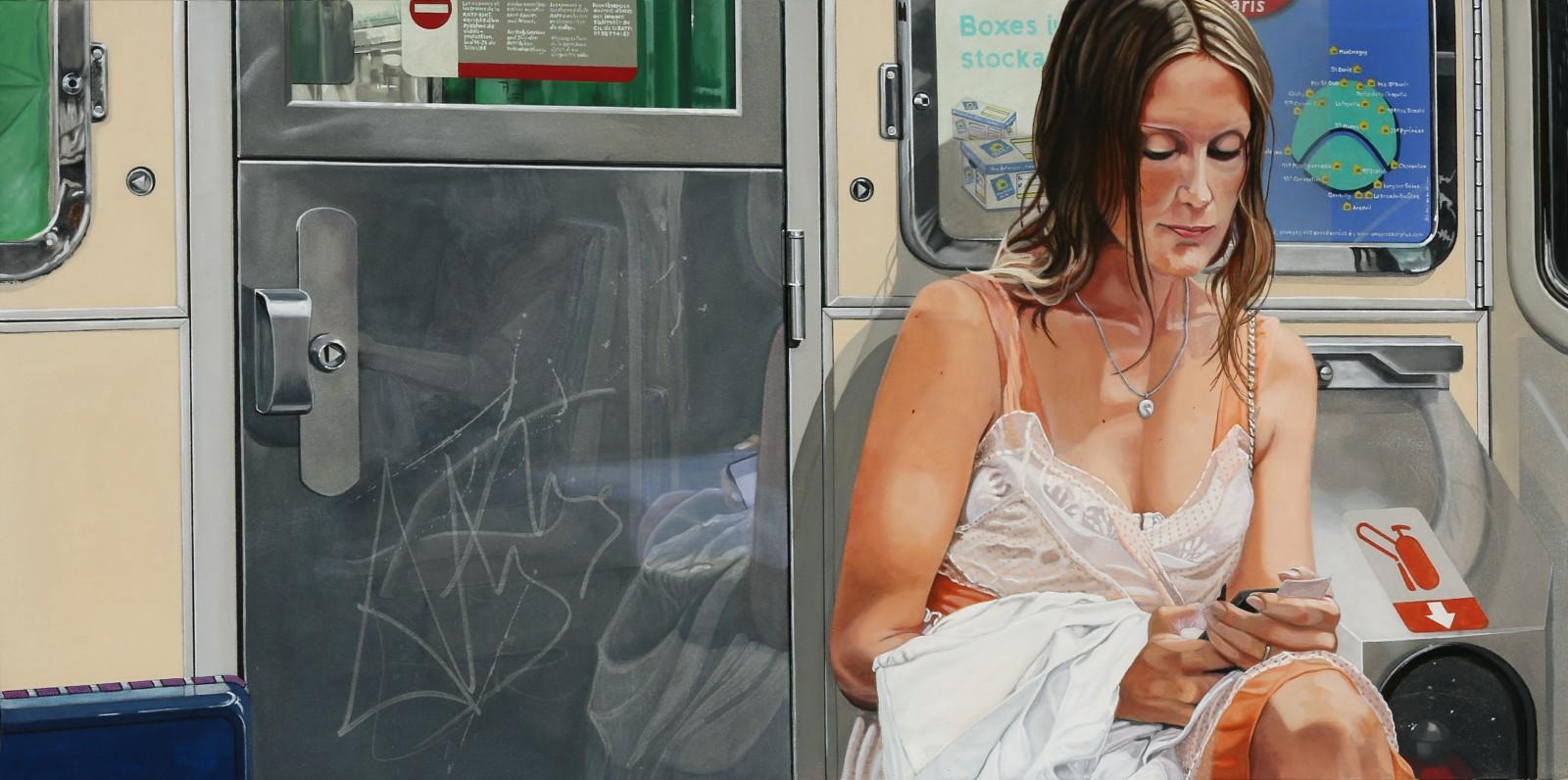 Peinture hyperréalisme Hervé Bernard : Alice in the tube