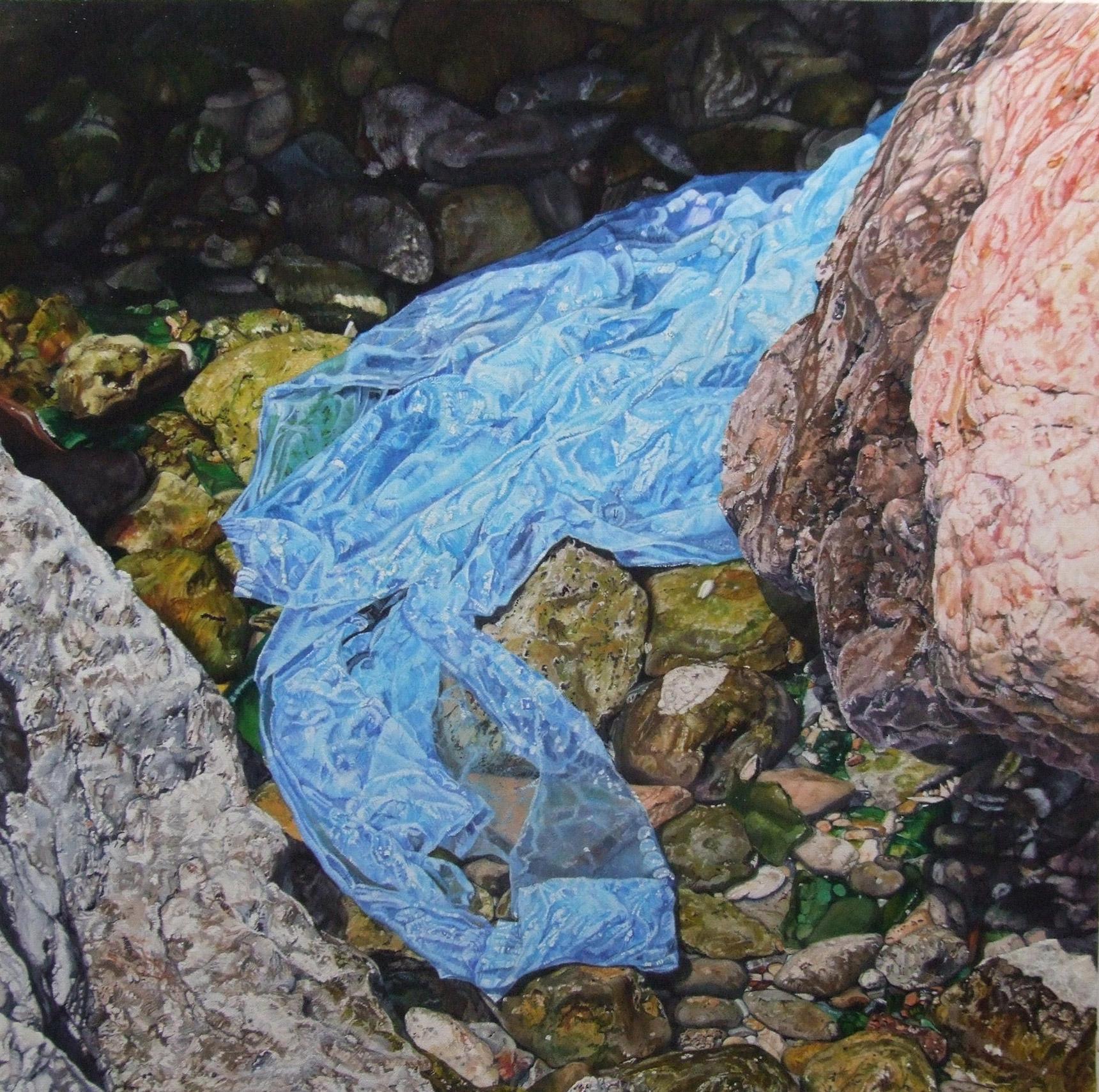 Peinture hyperréalisme Hervé Bernard : Social Cortex with a Wave