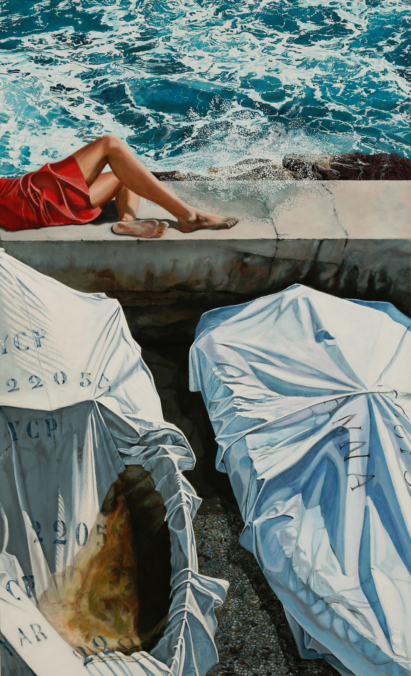 Peinture hyperréalisme Hervé Bernard : She doesnt care