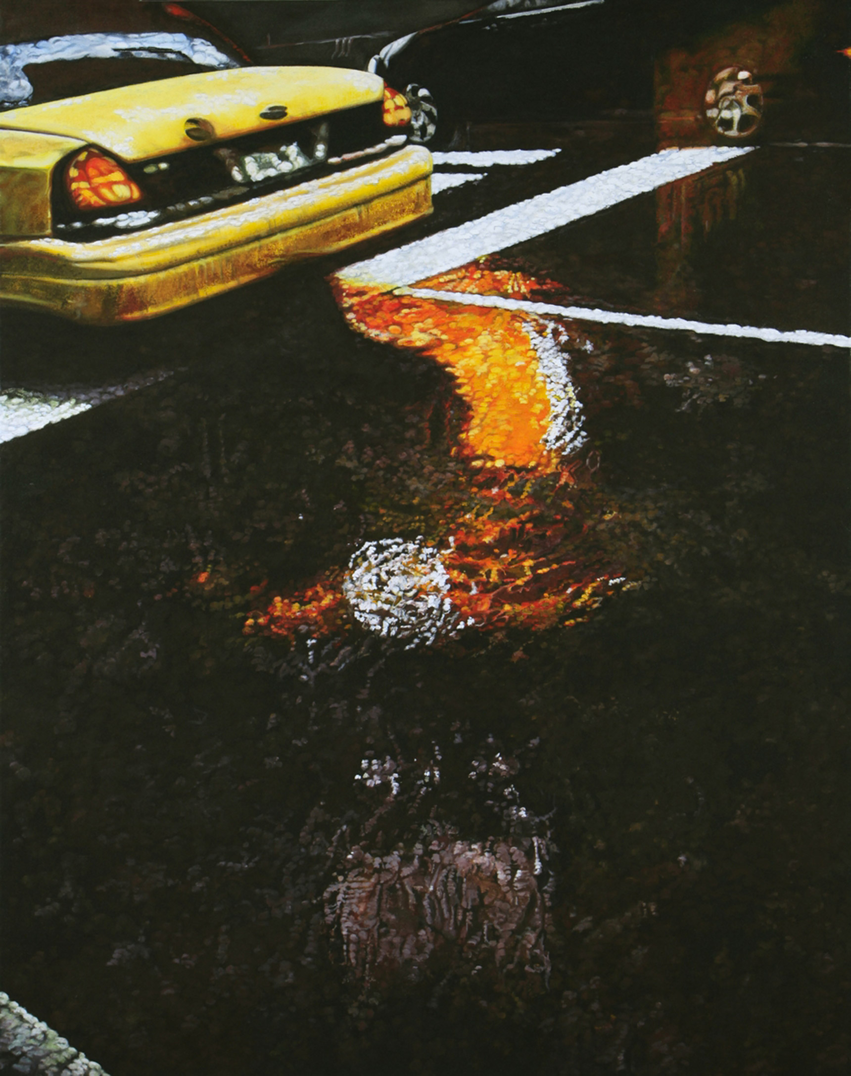 Peinture hyperréalisme Hervé Bernard : The puddle