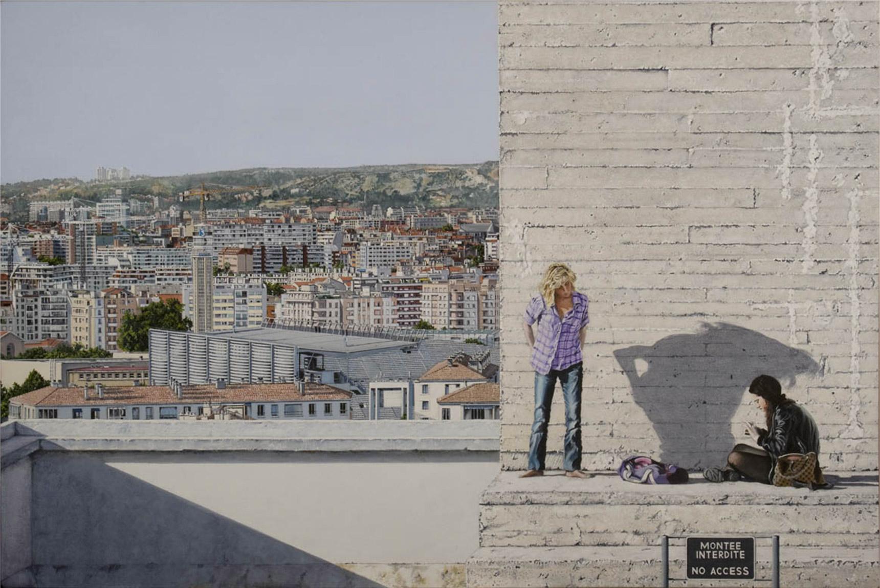Peinture hyperréalisme Hervé Bernard : Visiting Democritus
