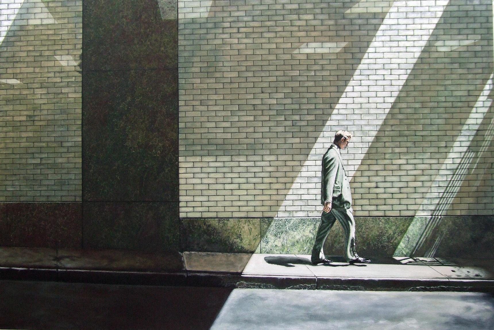 Peinture hyperréalisme Hervé Bernard : Wall Street