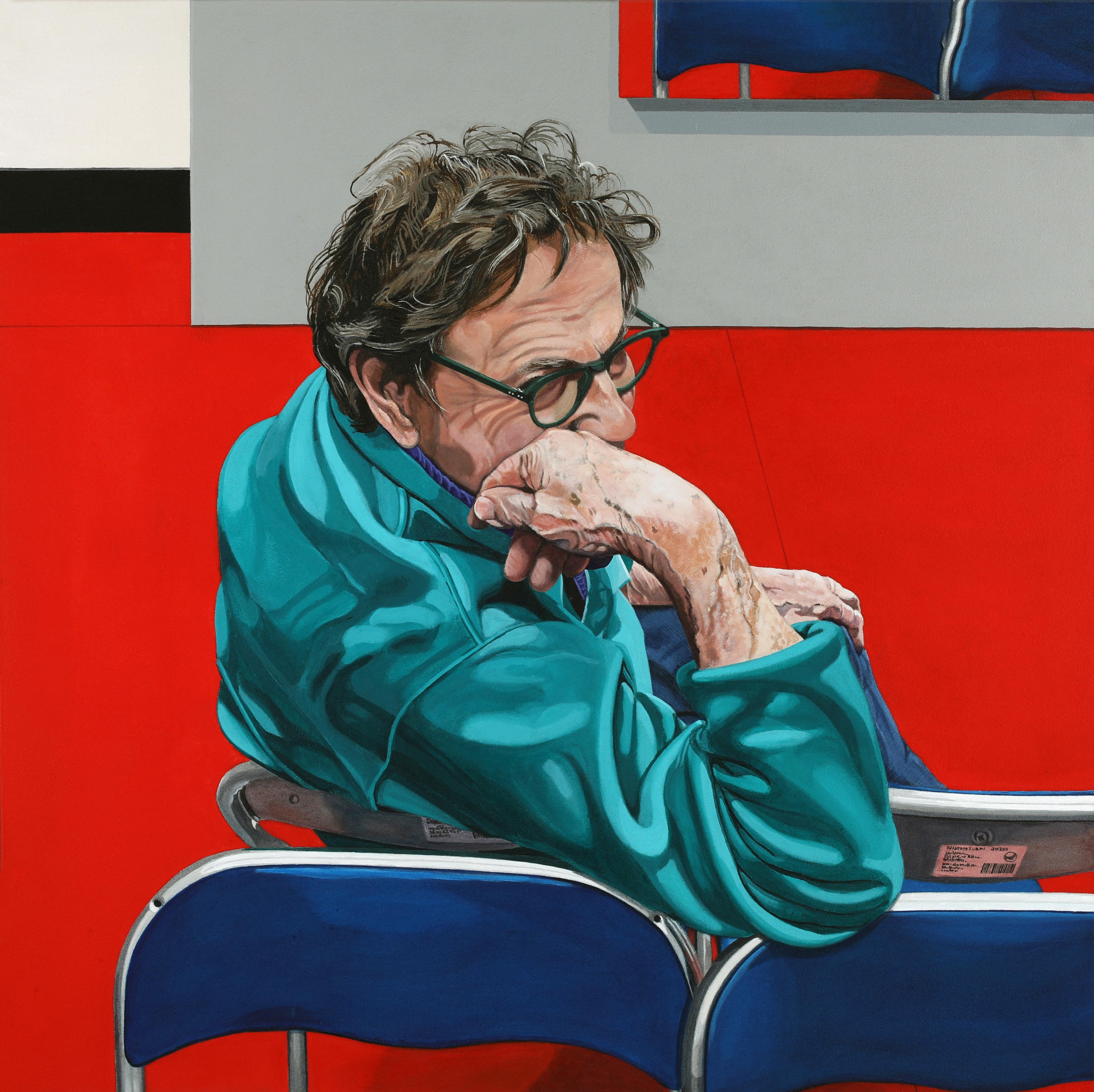 Peinture hyperréalisme Hervé Bernard : Autoportrait aux chaises bleues
