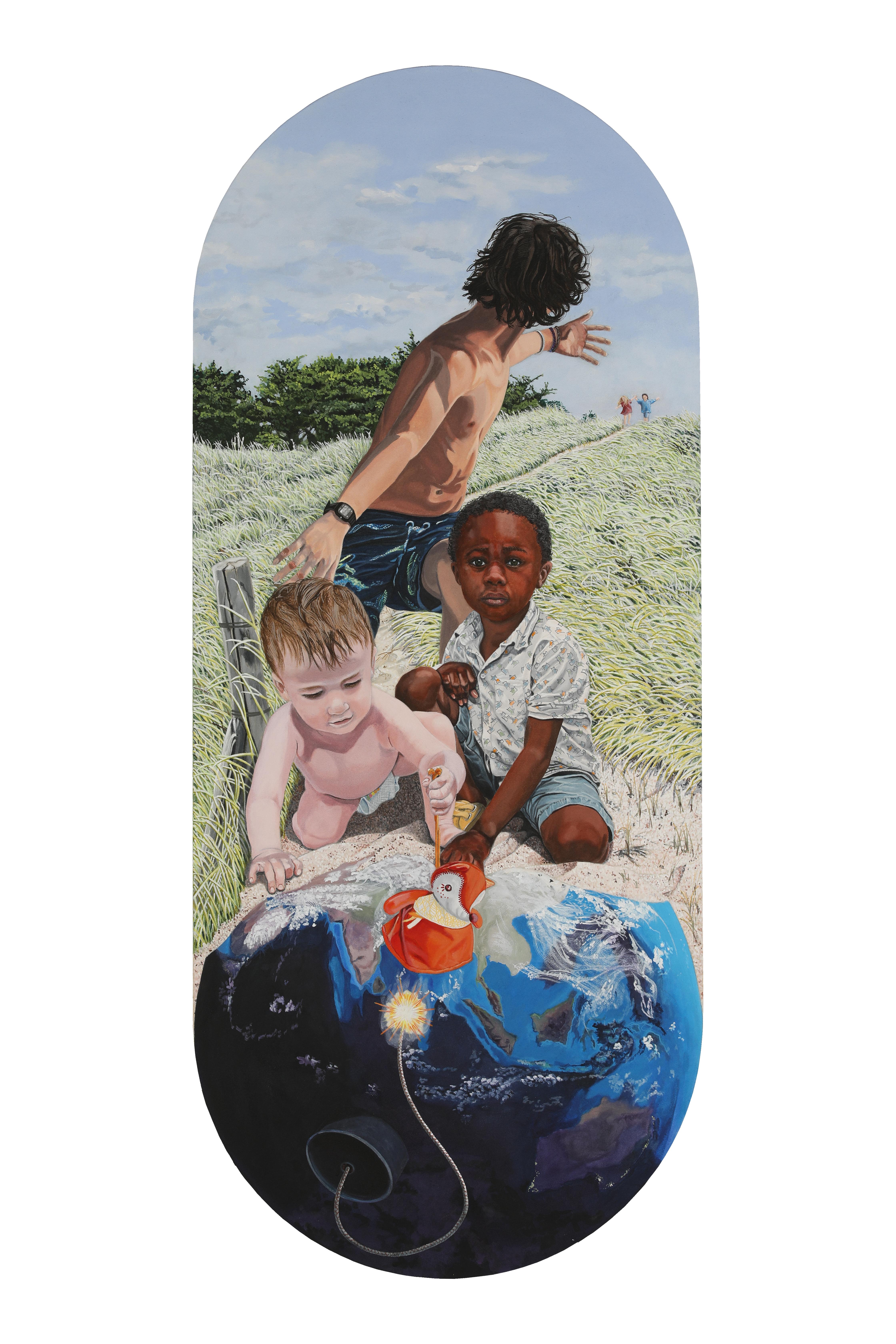Peinture hyperréalisme Hervé Bernard : Cinq petits pompiers